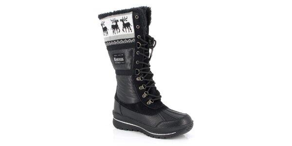 Dámske čierne topánky s kožúškom Kimberfeel