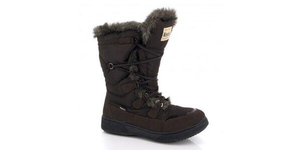 Dámske tmavo hnedé zimné topánky s kožúškom Kimberfeel