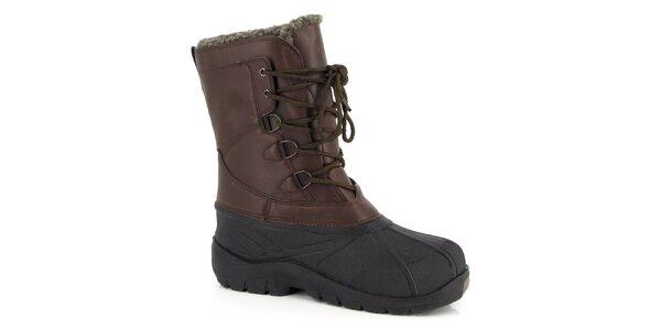 Hnedo-čierne zimné topánky Kimberfeel