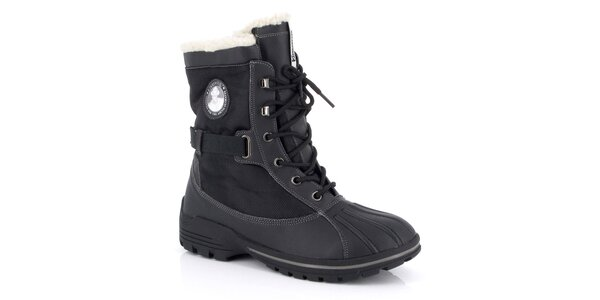 Pánske čierne šnurovacie zimné topánky Kimberfeel