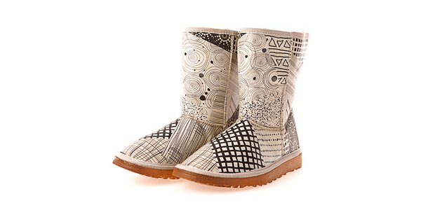 Dámske krémové topánky s čiernou retro potlačou Elite Goby