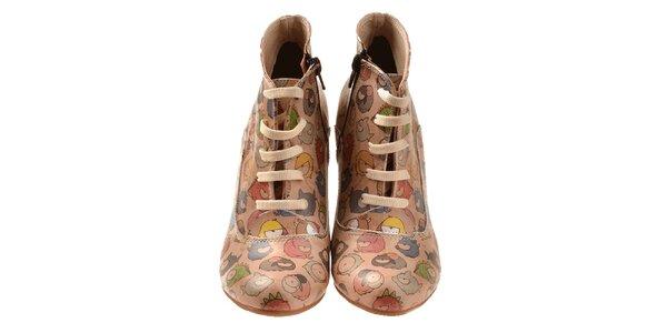 Dámske členkové topánky s farebnými zvieratkami Elite Goby