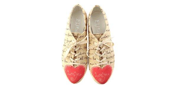 Dámske topánky s nápismi a srdiečkom Elite Goby