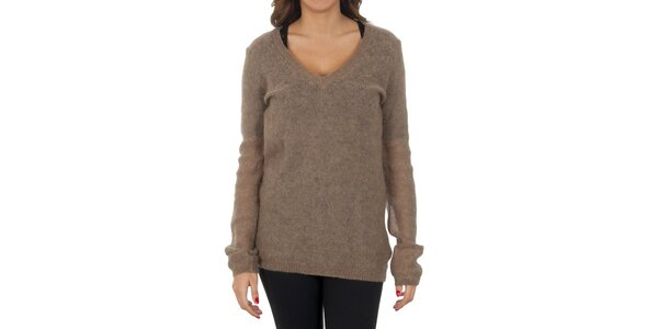 Dámsky svetlo hnedý mohérový sveter Tommy Hilfiger