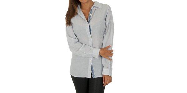 Dámska biela košeľa so sivými prúžkami Tommy Hilfiger