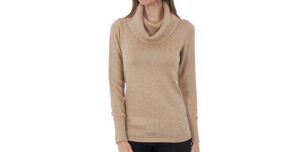 Dámsky béžový sveter s golierom Tommy Hilfiger