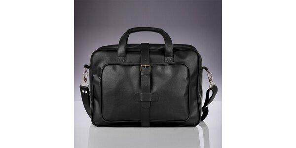 Pánska čierna taška s vonkajšími vreckami Solier