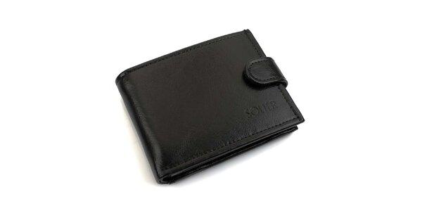 Pánska čierna kožená peňaženka s prackou Solier