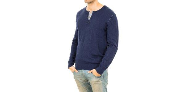 Pánsky modrý sveter so záplatami na lakťoch Tommy Hilfiger