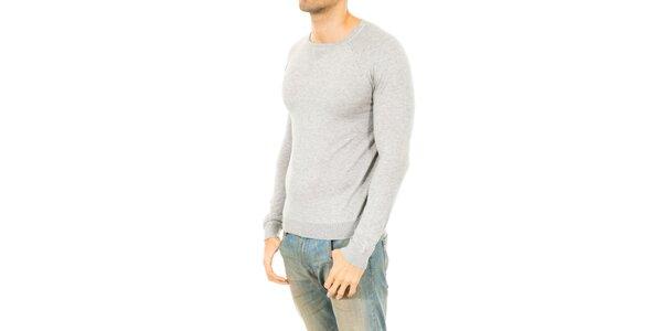 Pánsky svetlo šedý sveter Tommy Hilfiger