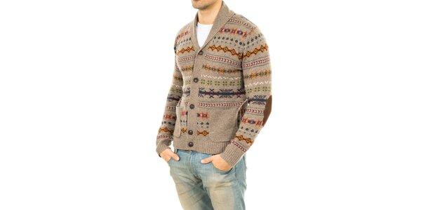 Pánsky svetlo hnedý sveter s farebným vzorom Tommy Hilfiger