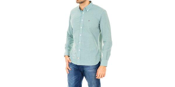 Pánska zeleno-biela košeľa Tommy Hilfiger