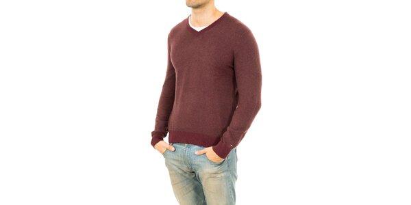Pánsky sveter v gaštanovom odtieni Tommy Hilfiger