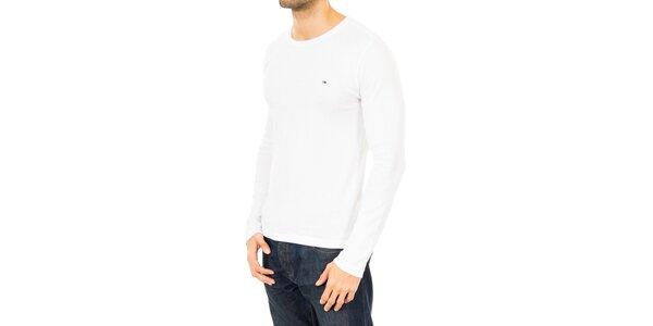 Pánske biele tričko s dlhým rukávom Tommy Hilfiger
