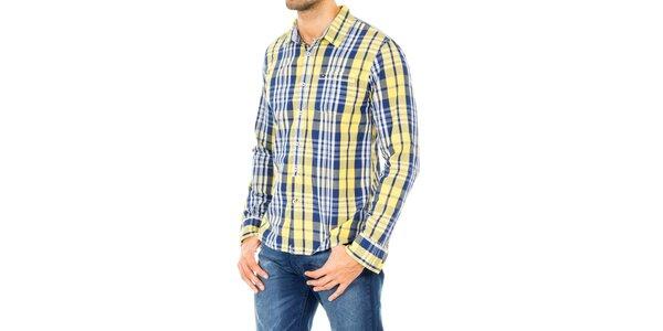 Pánska šedo-modro-bielo-žltá košeľa Tommy Hilfiger