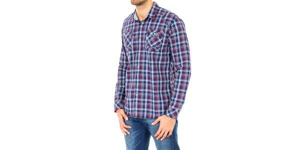Pánska modrá košeľa s bielymi a červenými prúžkami Tommy Hilfiger