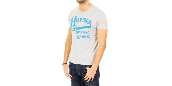 Pánske šedé tričko s modrým nápisom Tommy Hilfiger