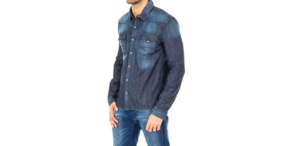 Pánska tmavo modrá džínsová košeľa Tommy Hilfiger
