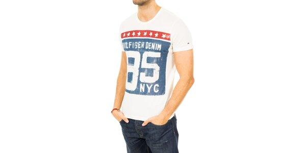 Pánske biele triko s farebnou potlačou Tommy Hilfiger