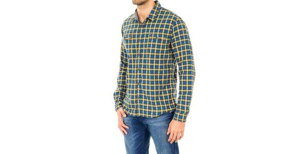 Pánska žlto-modrá kockovaná košeľa Tommy Hilfiger