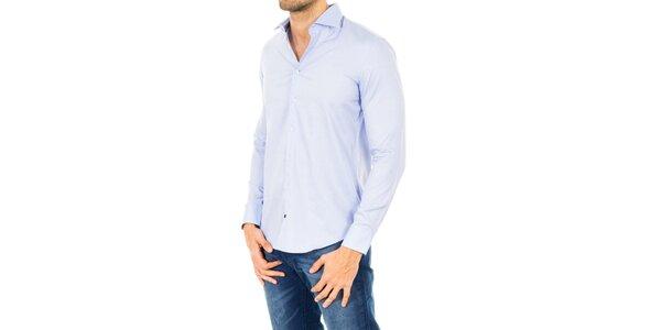 Pánska bavlnená košeľa v svetlo modrom odtieni Tommy Hilfiger