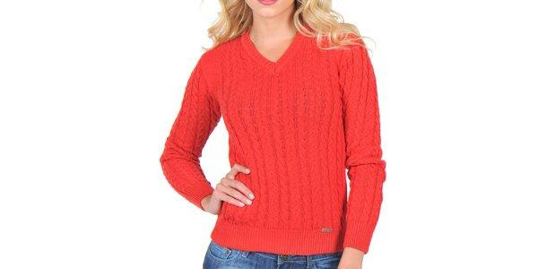 Dámsky červený sveter s vrkočmi Giorgio di Mare