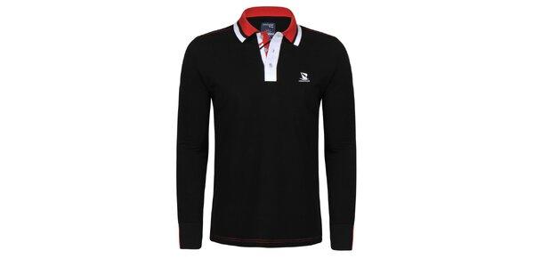 Pánske čierne polo tričko s pruhovaným límčekom Giorgio di Mare