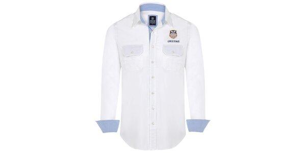 Pánska biela košeľa s vreckami Giorgio Di Mare