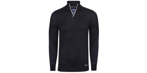 Pánsky tmavo modrý sveter so stojačikom Giorgio Di Mare