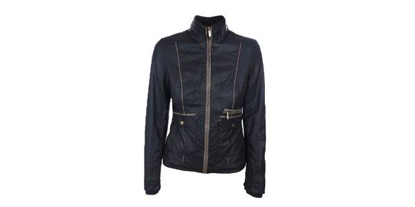 Dámska tmavo hnedá bunda s béžovými detailmi Company&Co