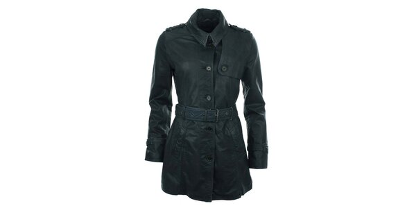 Dámsky tmavo modrý kabát s opaskom COMPANY&CO
