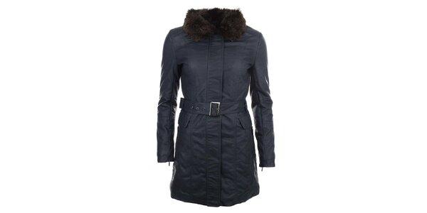 Dámsky tmavomodrý kabát s hnedým kožúškom COMPANY&CO