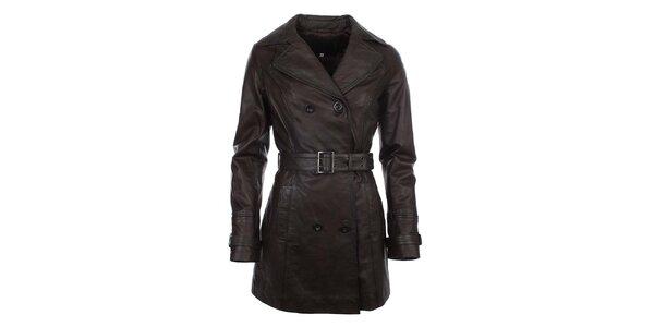 Dámsky hnedý dvojradový kabát s opaskom ECI