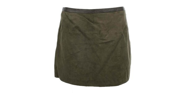 Dámska semišová sukňa v khaki odtieni MOCUISHLE