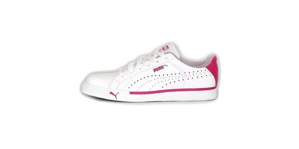 Dámske biele tenisky s ružovými detailmi Puma
