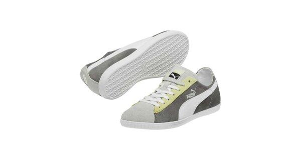 Dámske šedé tenisky s bielym prúžkom Puma