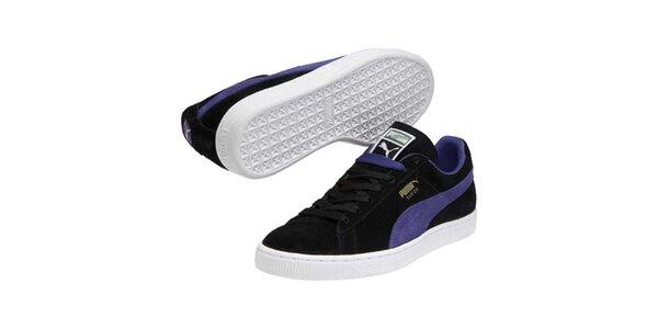 Pánske čierne semišové tenisky s modrým pruhom Puma