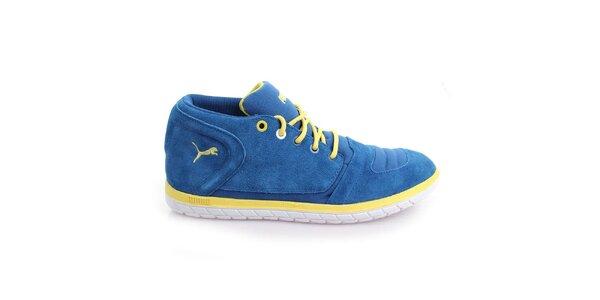 Pánske semišové modré topánky so žltými prvkami Puma
