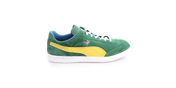 Pánske semišové zelené tenisky so žltými prvkami Puma