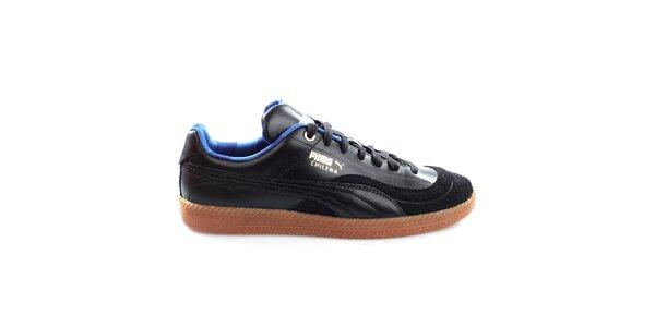 Pánske čierne kožené tenisky s modrými prvkami Puma