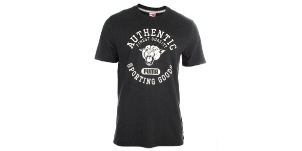 Pánske tmavo šedé tričko s bielou potlačou Puma