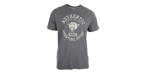 Pánske šedé tričko s bielou potlačou Puma