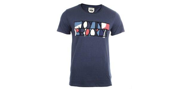 Pánske modré tričko s farebnou potlačou Puma