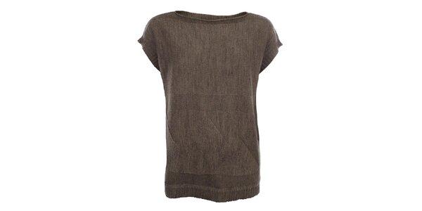 Dámsky hnedý sveter s krátkymi rukávmi Big Star