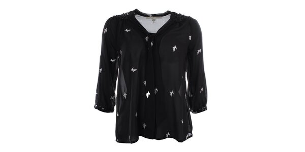 Dámska čierna blúzka s vtáčikmi Uttam Boutique