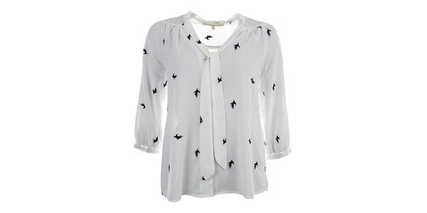 Dámska krémová blúzka s vtáčikmi Uttam Boutique