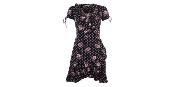 Dámske čiernobiele zavinovacie šaty s volánmi Uttam Boutique
