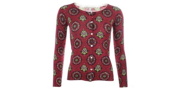 Dámsky červený svetrík s farebným vzorom Uttam Boutique