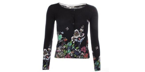 Dámsky čierny zapínací sveter s kvetmi Uttam Boutique