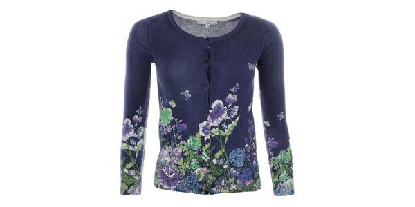 Dámsky modrý svetrík s kvetinovým vzorom Uttam Boutique